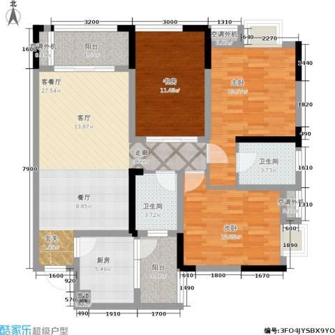 润丰水尚观景台高层组团3室1厅2卫1厨89.00㎡户型图