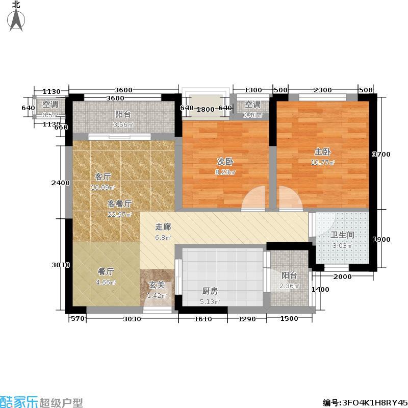 润丰水尚观景台高层组团61.00㎡二期21/23号楼标准层5号房户型