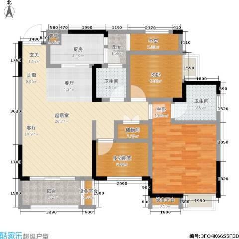 正源缙云山水2室0厅2卫1厨91.00㎡户型图