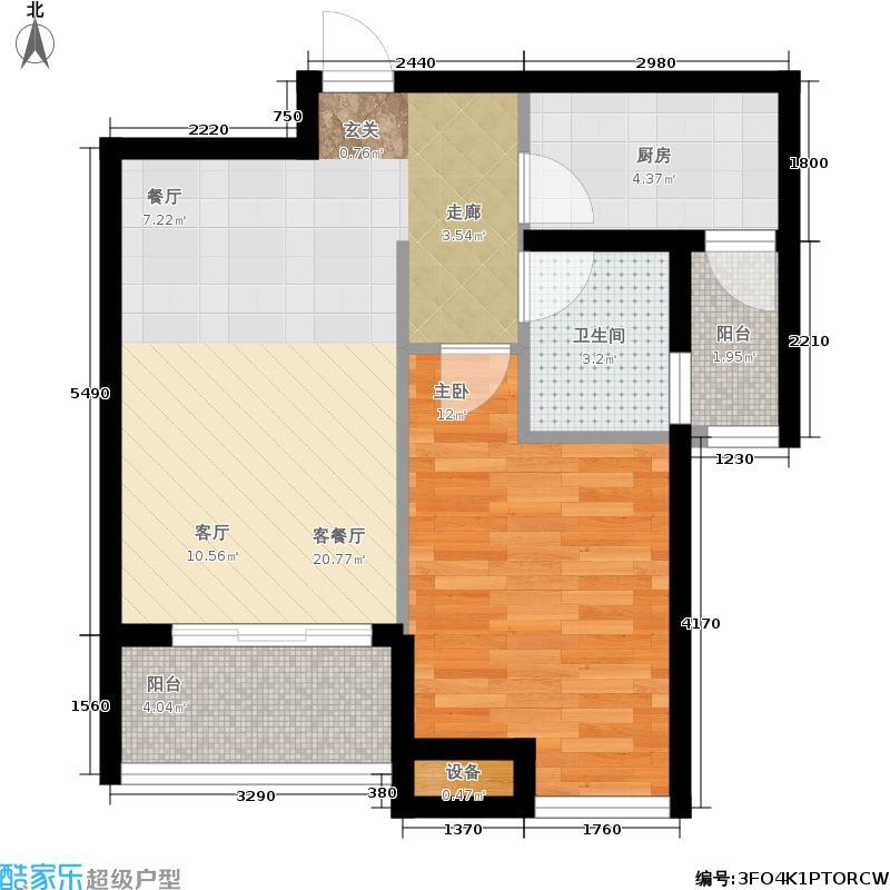 华银天鹅湖63.00㎡西山廊桥-花庭洋房一居中户户型1室2厅