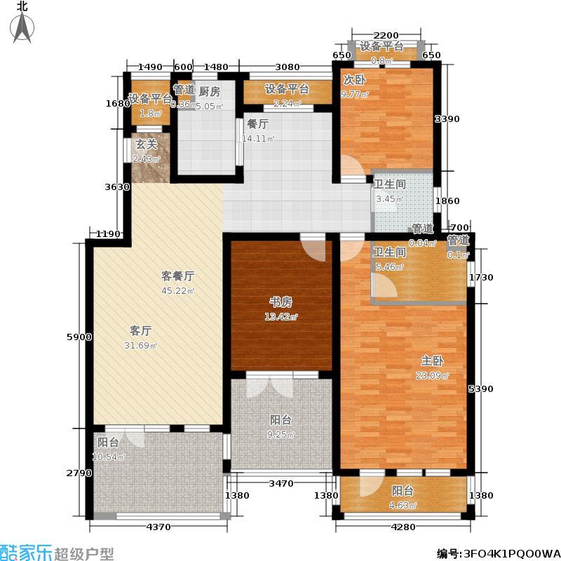 浦江颐城晶寓155.00㎡退台洋房C户型3室2厅