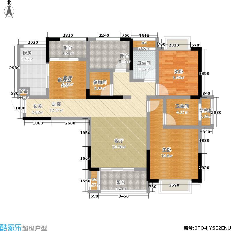 中庚领御122.01㎡1期19、22、27、28号楼标准层A4户型