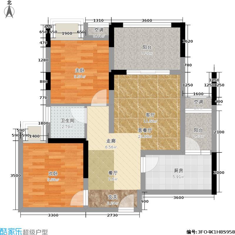 润丰水尚观景台高层组团66.00㎡二期21/23号楼标准层4号房户型