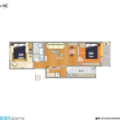 马南里小区2室1厅1卫1厨59.00㎡户型图