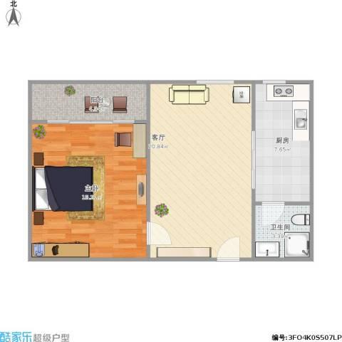 聚景园1室1厅1卫1厨74.00㎡户型图