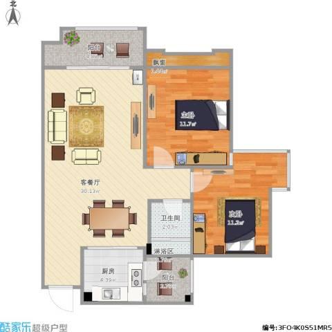 兴发金域丽江2室1厅1卫1厨95.00㎡户型图