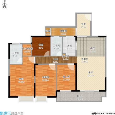 莲丰雅苑二期4室1厅2卫1厨188.00㎡户型图