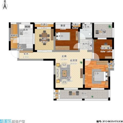博海尚城3室1厅1卫1厨142.00㎡户型图