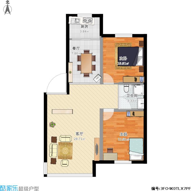 河畔曙光三期D户型85方两室两厅