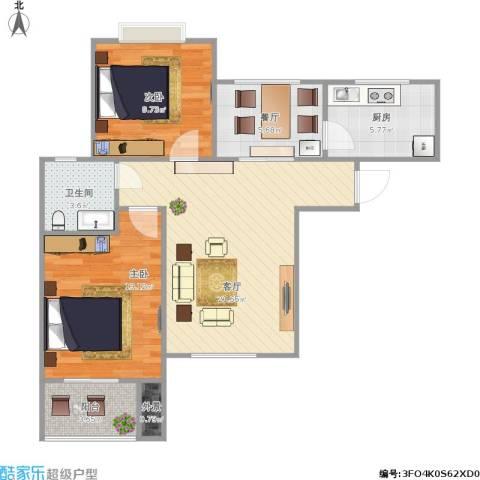 地质家园2室2厅1卫1厨87.00㎡户型图