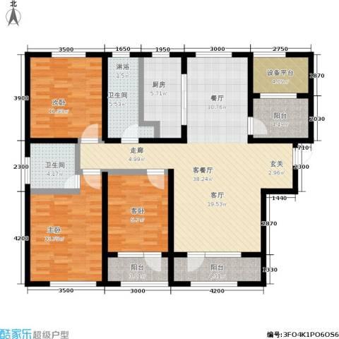 枫丹壹號3室1厅2卫1厨145.00㎡户型图