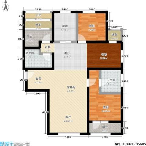 枫丹壹號2室1厅2卫1厨120.00㎡户型图
