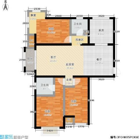 北京城建·世华泊郡3室0厅2卫1厨127.00㎡户型图