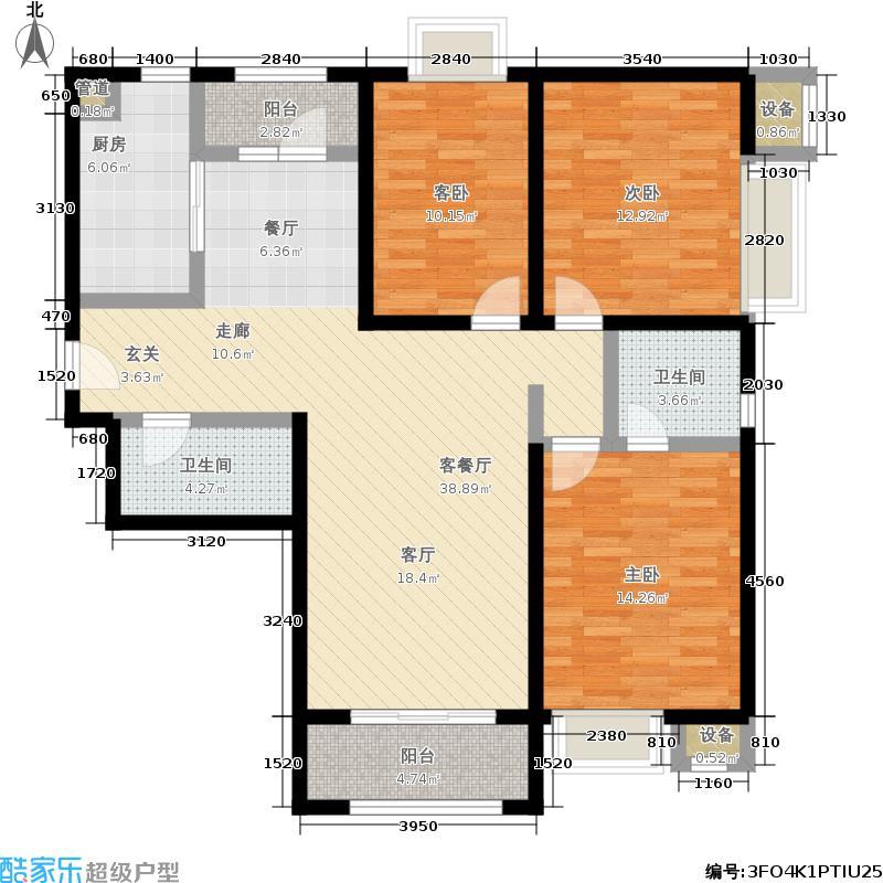 华业东方玫瑰130.00㎡C1-05户型3室2厅