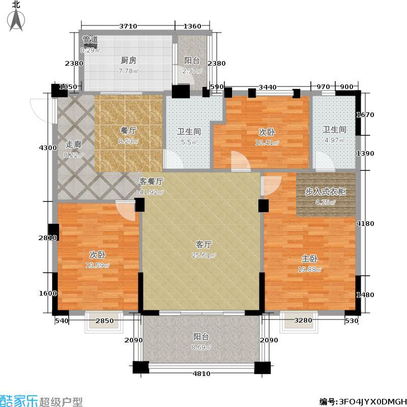 大丰豪庭126.73㎡二期4楼B栋标准层03户型