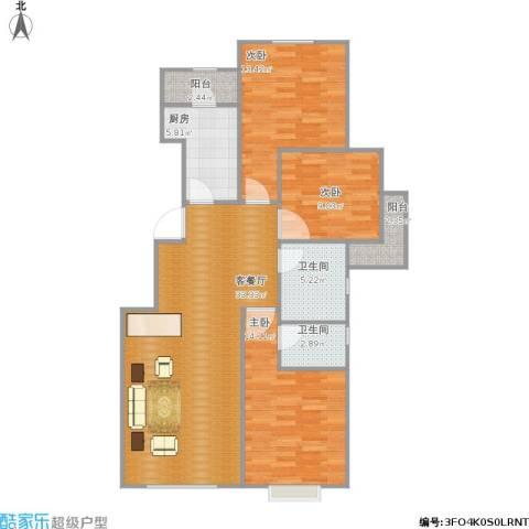 中加·博悦3室1厅2卫1厨120.00㎡户型图