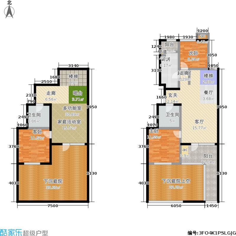首开·常青藤151.00㎡二期珑藤中间单元1层A-1Y三室户型3室3厅