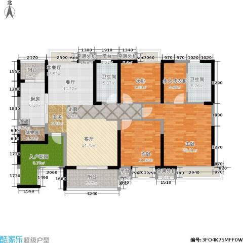 恒基誉珑湖滨3室1厅2卫1厨177.00㎡户型图