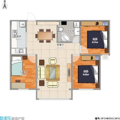 西吴御龙庭3室1厅1卫1厨81.00㎡户型图