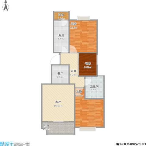 中惠卡丽兰3室2厅1卫1厨104.00㎡户型图