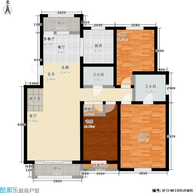 宜山居(麓鸣果墅)138.00㎡D1户型3室2厅