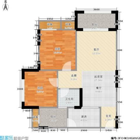 万港・汇景苑2室0厅1卫1厨76.00㎡户型图