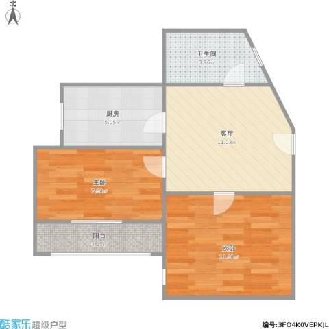 德六高层小区2室1厅1卫1厨56.00㎡户型图