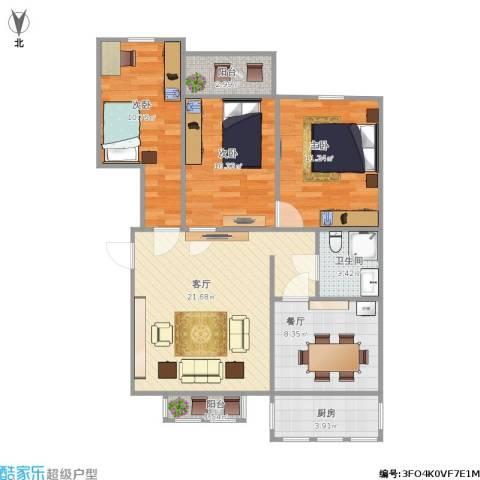 双湖锦苑3室2厅1卫1厨101.00㎡户型图