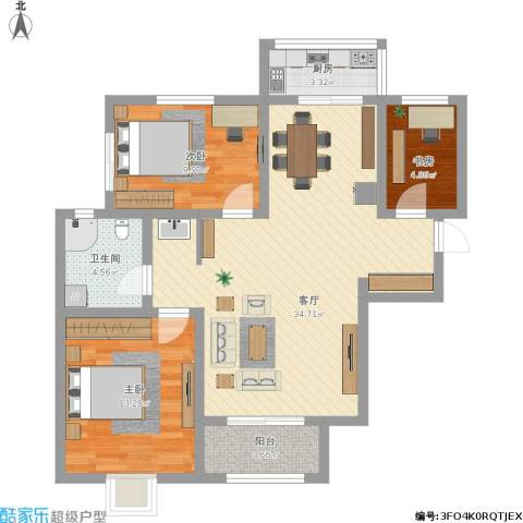 时代花园四期3室1厅1卫1厨108.00㎡户型图