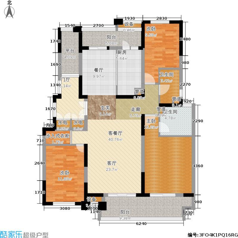港城滴水湖馨苑140.00㎡大平层户型3室2厅