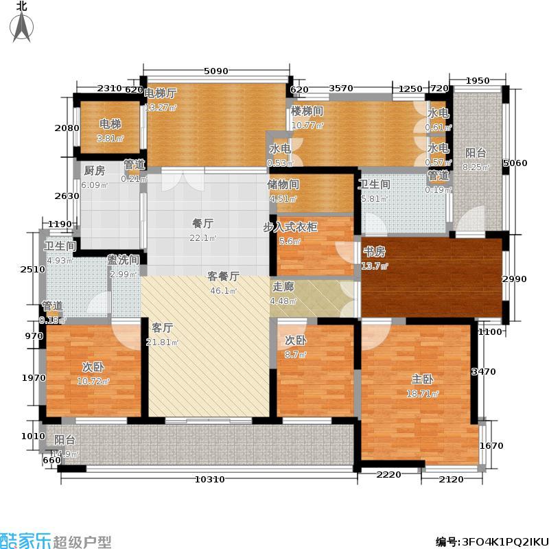 港城滴水湖馨苑200.00㎡大平层户型3室2厅