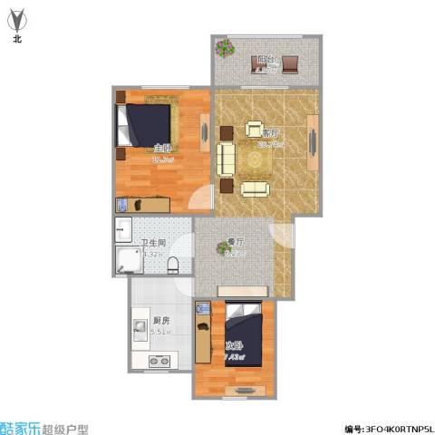 汇颂南苑2室1厅1卫1厨73.00㎡户型图