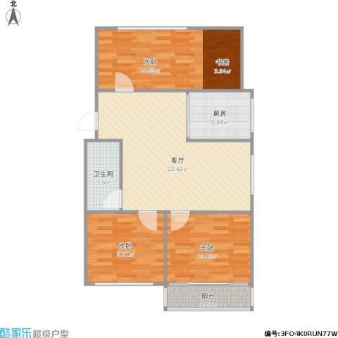 凤凰花园城3室1厅1卫1厨94.00㎡户型图