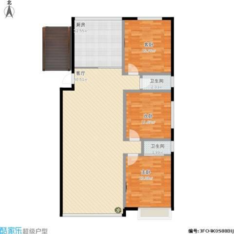 绿城乌镇雅园3室1厅2卫1厨145.00㎡户型图