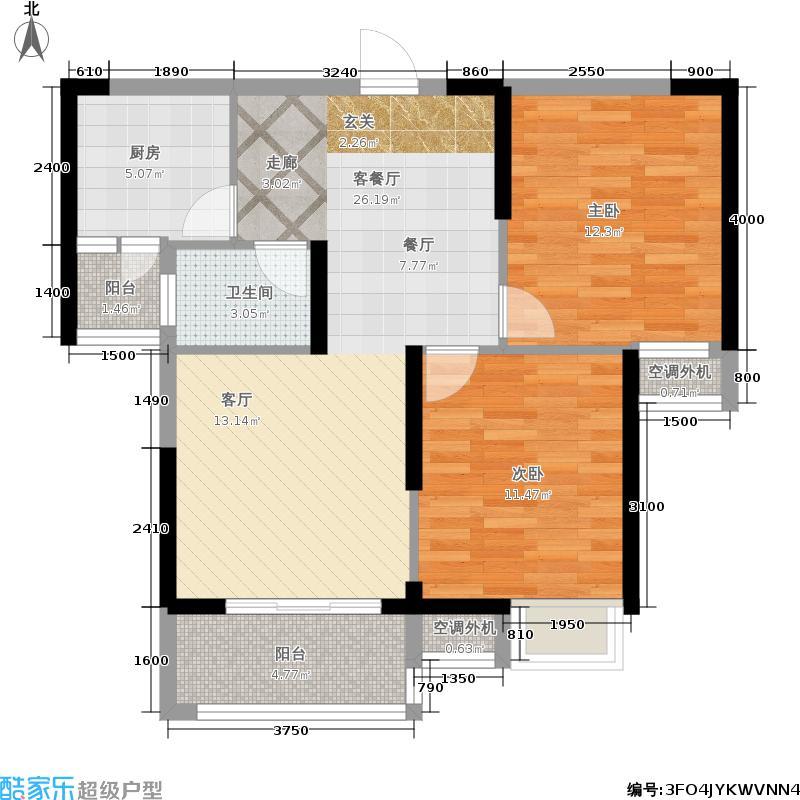 联投龙湾88.36㎡一期6、7号楼A3户型