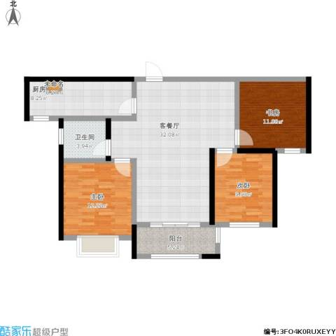 合景叠翠峰3室1厅1卫1厨119.00㎡户型图
