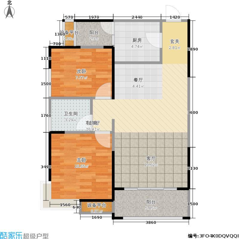 瑞居海布斯卡一期81.63㎡一期2号楼标准层A1户型