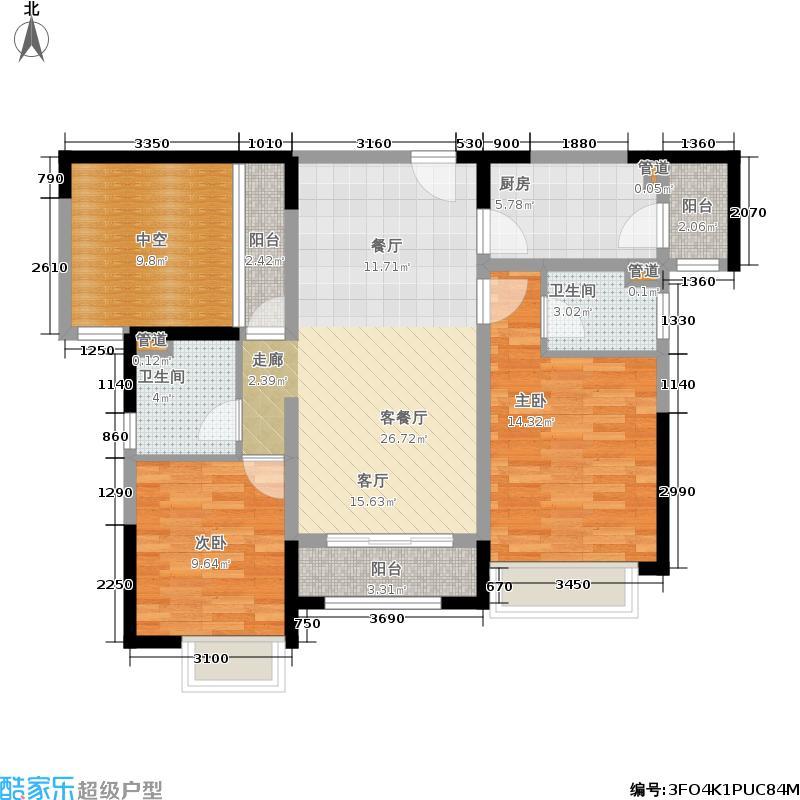 香悦四季(合景悦邑)95.00㎡香悦四季三期溪游季C5户型2室2厅
