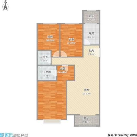 大城小镇3室1厅2卫1厨130.00㎡户型图