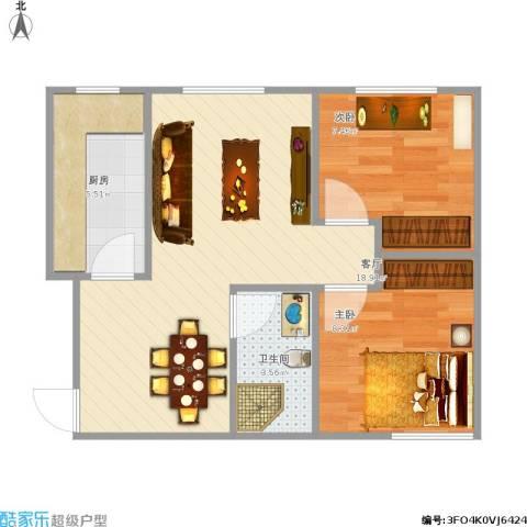 越秀・星汇蓝海2室1厅1卫1厨78.00㎡户型图
