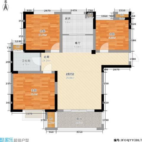 三金燕语庭3室0厅1卫1厨104.00㎡户型图