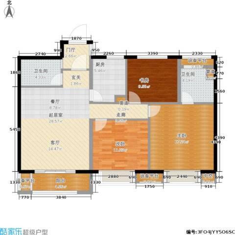 世茂君望墅3室0厅2卫1厨102.00㎡户型图