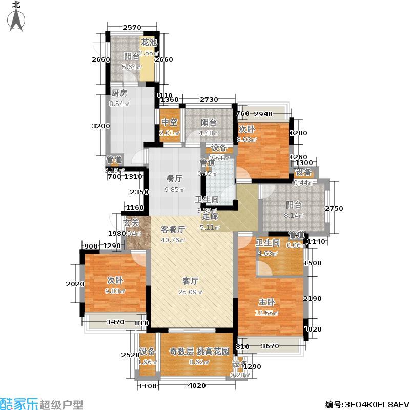 保利东湾137.00㎡四期15号楼空中面积13700m户型