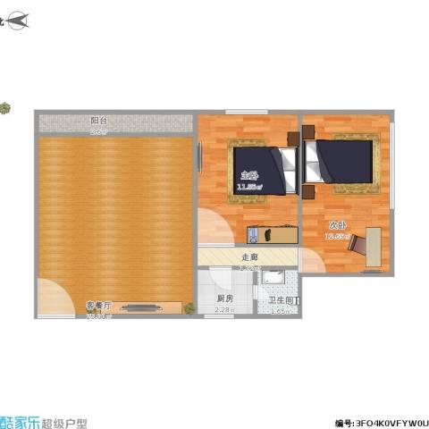 金侨花园2室1厅1卫1厨78.00㎡户型图