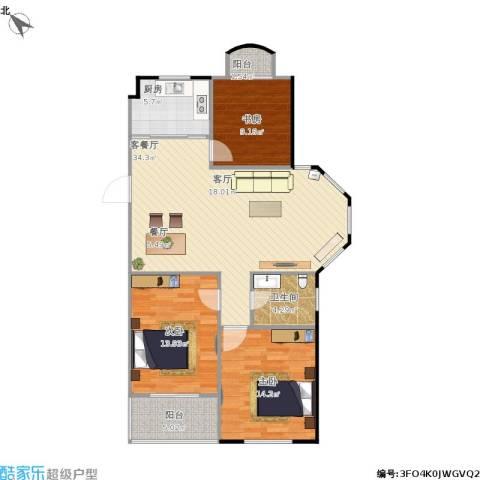 银河湾紫苑3室1厅1卫1厨118.00㎡户型图