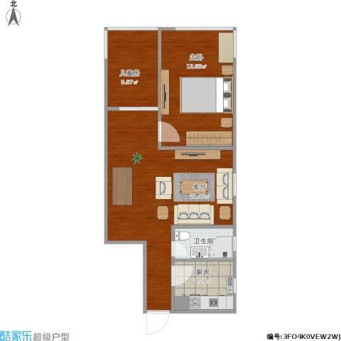 海防新村2室1厅1卫1厨50.90㎡户型图
