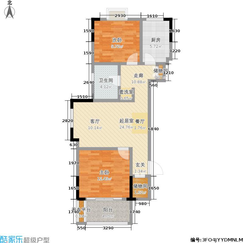 爱涛天逸园74.00㎡五期26栋标准层J2户型