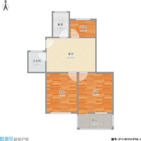 江西路小区3室1厅1卫1厨70.00㎡户型图
