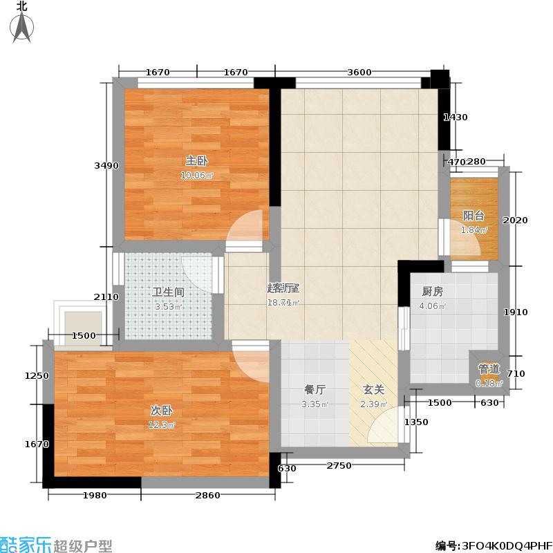 佳年华广场66.88㎡一期1号楼标准层A2户型
