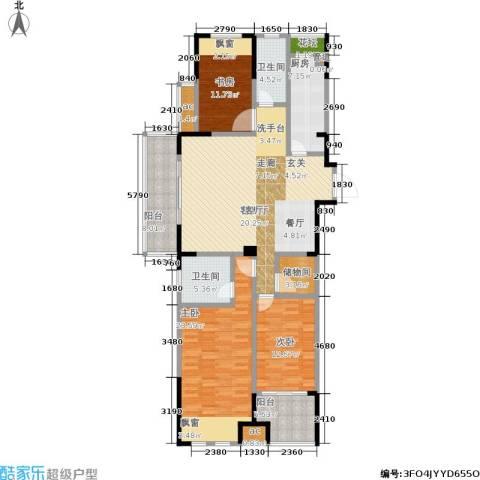 橡树城3室1厅2卫1厨133.00㎡户型图